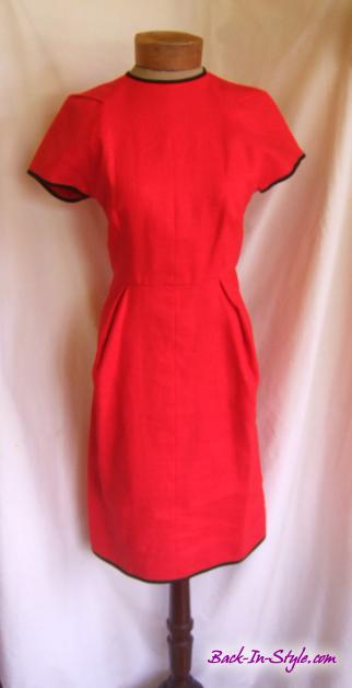 geoffrey-beene-red-linen-dress-navy-trim-1
