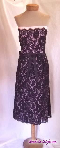 laundry-pink-black-lace-strapless-dress-1