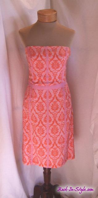tracy-reese-pink-orange-strapless-dress-1